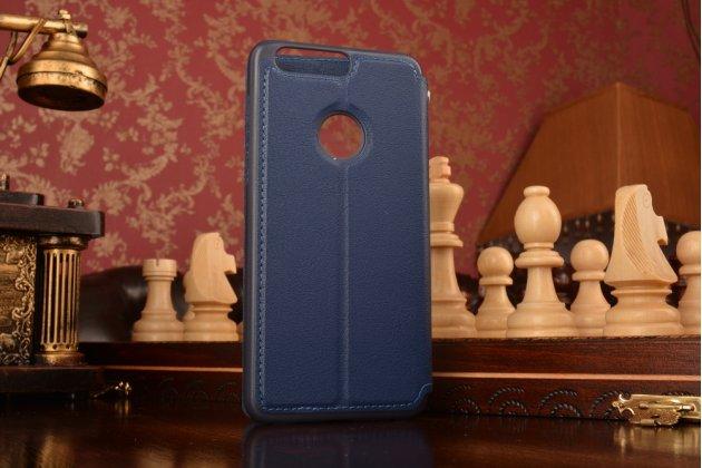 """Фирменный чехол-книжка для Huawei Honor 8 (FRD-AL00) 5.2"""" из качественной импортной кожи синий с окошком для входящих вызовов и свайпом"""