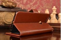 """Фирменный чехол-книжка для  Huawei Honor 8 (FRD-AL00) 5.2"""" с визитницей и мультиподставкой коричневый кожаный"""