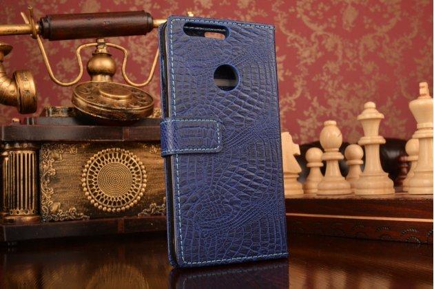 """Фирменный чехол-книжка с подставкой для Huawei Honor 8 (FRD-AL00) 5.2""""  лаковая кожа крокодила синий"""