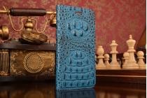 """Фирменный роскошный эксклюзивный чехол с объёмным 3D изображением рельефа кожи крокодила синий для  Huawei Honor 8 (FRD-AL00) 5.2"""". Только в нашем магазине. Количество ограничено"""
