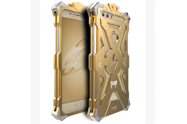 """Противоударный металлический чехол-бампер из цельного куска металла с усиленной защитой углов и необычным экстремальным дизайном  для Huawei Honor 8 (FRD-AL00) 5.2"""" золотого цвета"""