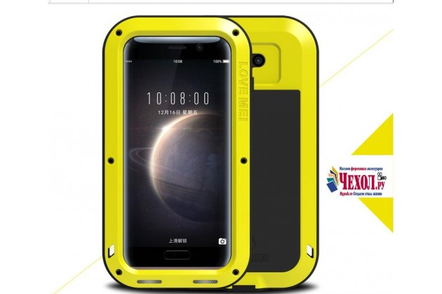 Неубиваемый водостойкий противоударный водонепроницаемый грязестойкий влагозащитный ударопрочный фирменный чехол-бампер для Huawei Honor Magic цельно-металлический желтый со стеклом Gorilla Glass