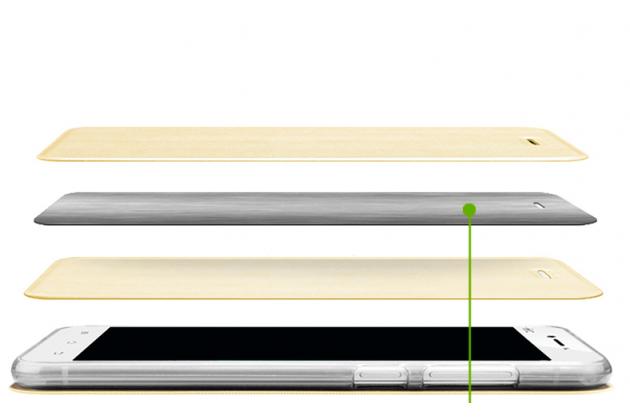 Фирменный чехол-книжка водоотталкивающий с мульти-подставкой на жёсткой металлической основе для Huawei Honor Magic  золотой