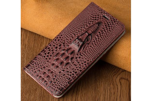 Фирменный роскошный эксклюзивный чехол с объёмным 3D изображением кожи крокодила цвет красное вино для Huawei Honor Magic . Только в нашем магазине. Количество ограничено
