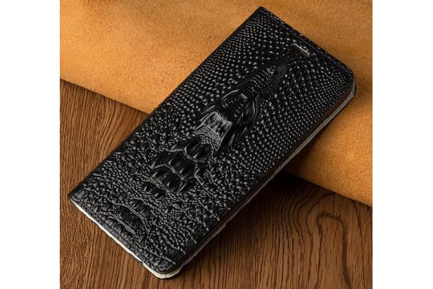 Фирменный роскошный эксклюзивный чехол с объёмным 3D изображением кожи крокодила черный для Huawei Honor Magic . Только в нашем магазине. Количество ограничено