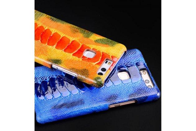 Фирменная роскошная эксклюзивная накладка из натуральной КОЖИ С НОГИ СТРАУСА синяя  для Huawei Honor Magic. Только в нашем магазине. Количество ограничено