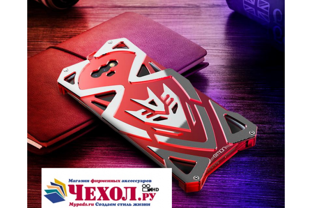 Противоударный металлический чехол-бампер из цельного куска металла с усиленной защитой углов и необычным экстремальным дизайном  для  Huawei Honor Magic красного цвета