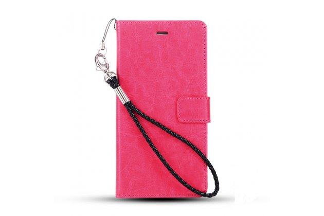 Фирменный чехол-книжка из качественной импортной кожи с подставкой застёжкой и визитницей для Хуавей Хонор Мэджик розовый