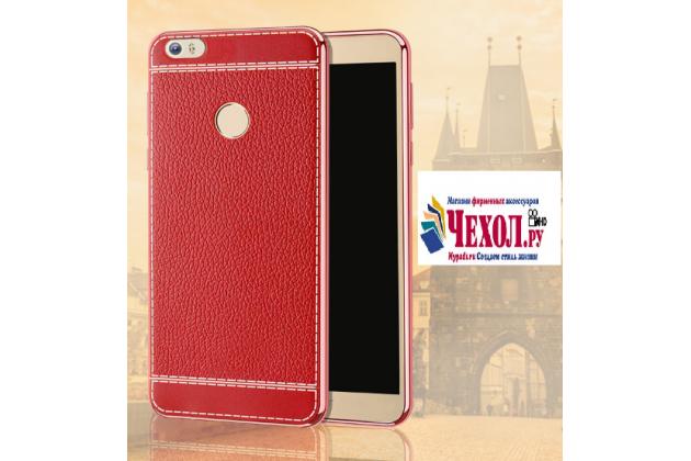 Фирменная премиальная элитная крышка-накладка на Huawei Honor Note 8/EDI-AL10 6.6 красная из качественного силикона с дизайном под кожу