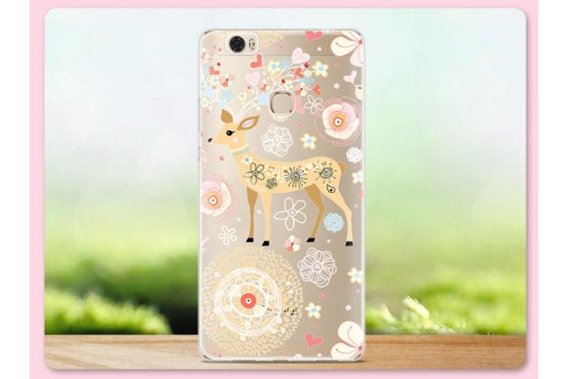 """Фирменная задняя панель-чехол-накладка из прозрачного 3D  силикона с  объёмным рисунком для Huawei Honor Note 8/EDI-AL10 6.6"""" тематика """"оленя в цветах"""" которая огибает логотип чтобы была видна марка телефона"""