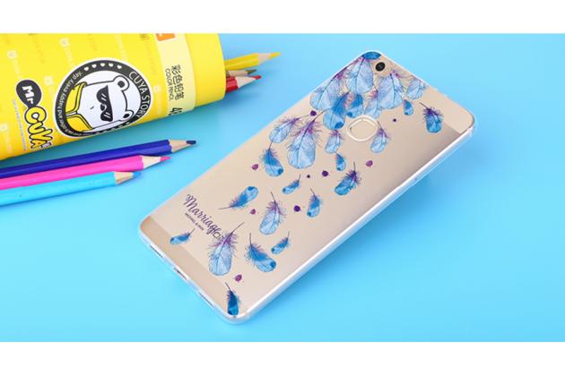 """Фирменная задняя панель-чехол-накладка из прозрачного 3D  силикона с  объёмным рисунком для Huawei Honor Note 8/EDI-AL10 6.6"""" тематика """"Перо жар-птицы"""""""