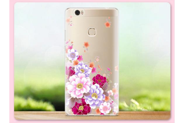 """Фирменная задняя панель-чехол-накладка из прозрачного 3D силикона с объёмным рисунком для Huawei Honor Note 8/EDI-AL10 6.6""""  """"тематика Цветы"""" которая огибает логотип чтобы была видна марка телефона"""