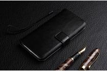 """Фирменный чехол-книжка для Huawei Honor Note 8/EDI-AL10 6.6""""  с визитницей и мультиподставкой черный кожаный"""