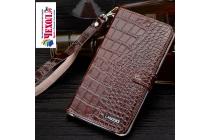 """Фирменный роскошный эксклюзивный чехол с фактурной прошивкой рельефа кожи крокодила и визитницей коричневый для Huawei Honor Note 8/EDI-AL10 6.6"""". Только в нашем магазине. Количество ограничено"""