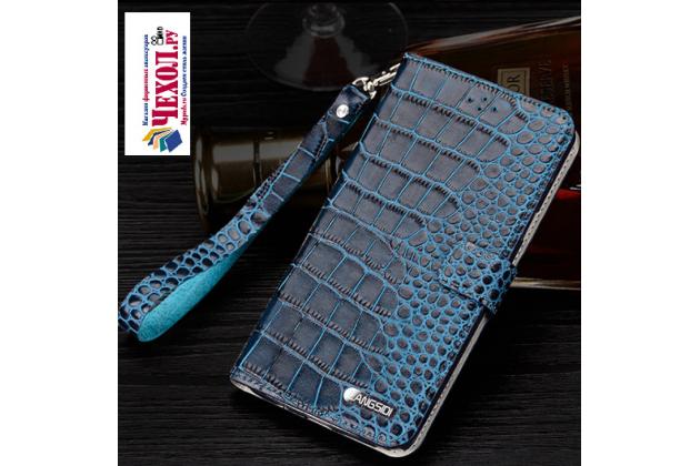 """Фирменный роскошный эксклюзивный чехол с фактурной прошивкой рельефа кожи крокодила и визитницей синий для Huawei Honor Note 8/EDI-AL10 6.6"""" . Только в нашем магазине. Количество ограничено"""
