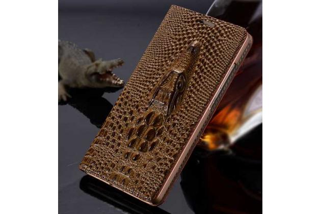 """Фирменный роскошный эксклюзивный чехол с объёмным 3D изображением кожи крокодила коричневый для  Huawei Honor Note 8/EDI-AL10 6.6"""". Только в нашем магазине. Количество ограничено"""