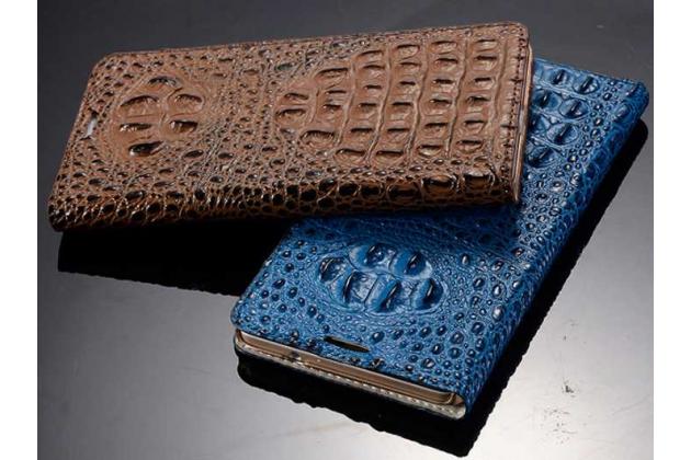 """Фирменный роскошный эксклюзивный чехол с объёмным 3D изображением рельефа кожи крокодила синий для  Huawei Honor Note 8/EDI-AL10 6.6"""". Только в нашем магазине. Количество ограничено"""