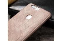 """Фирменная премиальная элитная крышка-накладка из тончайшего прочного пластика и качественной импортной кожи для Huawei Honor V8 Dual Sim 4G 5.7""""  """"Ретро под старину"""" светло-серая"""