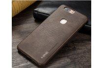 """Фирменная премиальная элитная крышка-накладка из тончайшего прочного пластика и качественной импортной кожи для Huawei Honor V8 Dual Sim 4G 5.7""""  """"Ретро под старину"""" коричневая"""