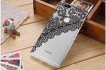 """Фирменная задняя панель-чехол-накладка из прозрачного 3D  силикона с объёмным рисунком для Huawei Honor V8 Dual Sim 4G 5.7""""  """"тематика Черное кружево"""" которая огибает логотип чтобы была видна марка телефона"""