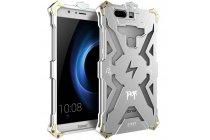 """Противоударный металлический чехол-бампер из цельного куска металла с усиленной защитой углов и необычным экстремальным дизайном  для Huawei Honor V8 Dual Sim 4G 5.7"""" серебряного цвета"""