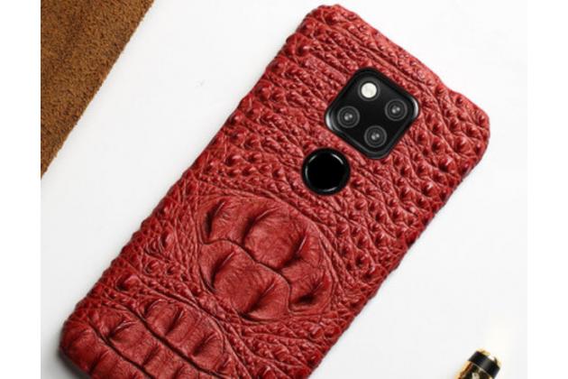 Фирменная роскошная эксклюзивная накладка с объёмным 3D изображением рельефа кожи крокодила красная для Huawei Mate 20 6.53. Только в нашем магазине. Количество ограничено