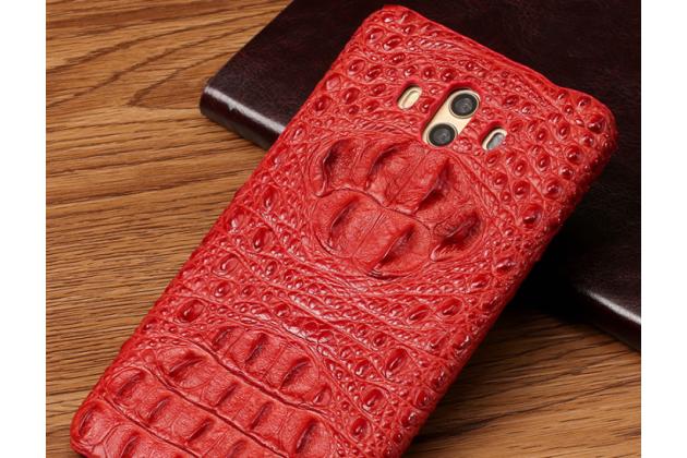 Фирменная роскошная эксклюзивная накладка с объёмным 3D изображением рельефа кожи крокодила красная для Huawei Mate 20 Pro / Mate 20 RS 6.39. Только в нашем магазине. Количество ограничено