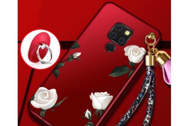"""Фирменная роскошная задняя панель-чехол-накладка  из мягкого силикона с безумно красивым расписным 3D рисунком на Huawei Mate 20 6.53 """"тематика Белые розы"""""""