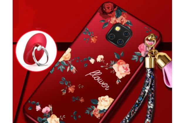 """Фирменная роскошная задняя панель-чехол-накладка  из мягкого силикона с безумно красивым расписным 3D рисунком на Huawei Mate 20 Pro / Mate 20 RS 6.39 """"тематика Цветы"""""""