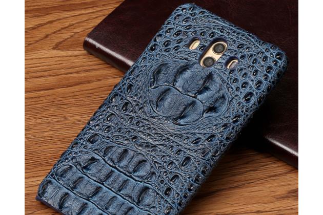 Фирменная роскошная эксклюзивная накладка с объёмным 3D изображением рельефа кожи крокодила синяя для Huawei Mate 20 6.53. Только в нашем магазине. Количество ограничено