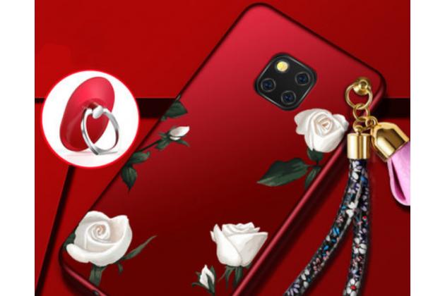 """Фирменная роскошная задняя панель-чехол-накладка  из мягкого силикона с безумно красивым расписным 3D рисунком на Huawei Mate 20 Pro / Mate 20 RS 6.39 """"тематика Белые розы"""""""