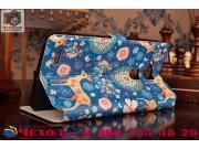 Фирменный чехол-книжка с безумно красивым расписным рисунком Оленя в цветах на Huawei Ascend Mate 7 с окошком ..
