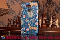 Фирменный чехол-книжка с безумно красивым расписным рисунком Оленя в цветах на Huawei Ascend Mate 7 с окошком для звонков