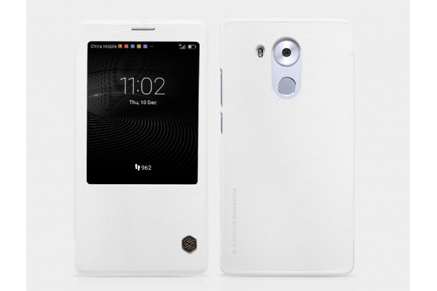 """Фирменный оригинальный чехол-книжка для  Huawei Mate 8 (NXT-AL1) 6.0""""  белый кожаный с окошком для входящих вызовов"""