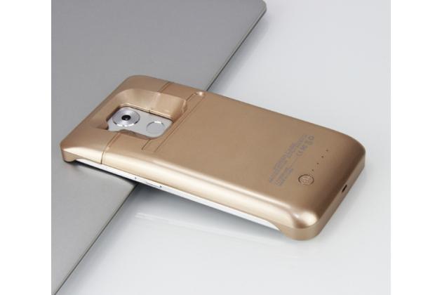 """Чехол-бампер со встроенной усиленной мощной батарей-аккумулятором большой повышенной расширенной ёмкости 4500mAh для Huawei Mate 8 (NXT-AL1) 6.0"""" золотой + гарантия"""
