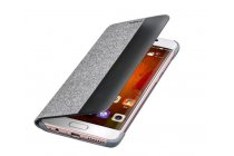 """Фирменный оригинальный подлинный чехол с боковым окном с логотипом для Huawei Mate 9 Pro 5.5"""" (LON-L29) Smart Wake серый с рисунком текстиль"""