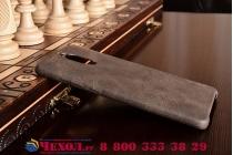 """Фирменная премиальная элитная крышка-накладка из тончайшего прочного пластика и качественной импортной кожи для Huawei Mate 9 Pro 5.5"""" (LON-L29) Ретро под старину коричневая"""