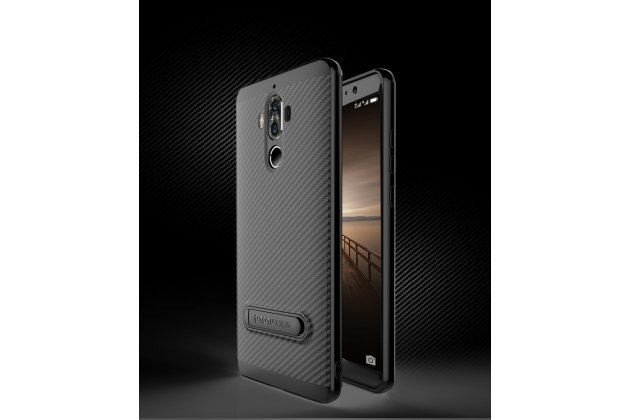 """Задняя панель-крышка из ультра-тонкого силикона для Huawei Mate 9 Pro 5.5 (LON-L29) с матовой отделкой """"под карбон"""" черная"""