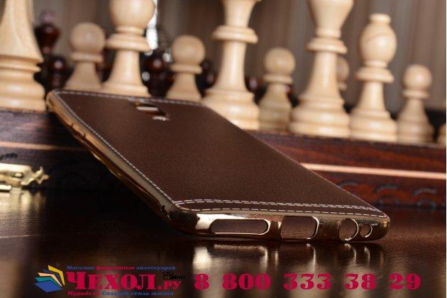 Фирменная премиальная элитная крышка-накладка на for Huawei Mate 9 Pro 5.5 (LON-L29) коричневая из качественного силикона с дизайном под кожу