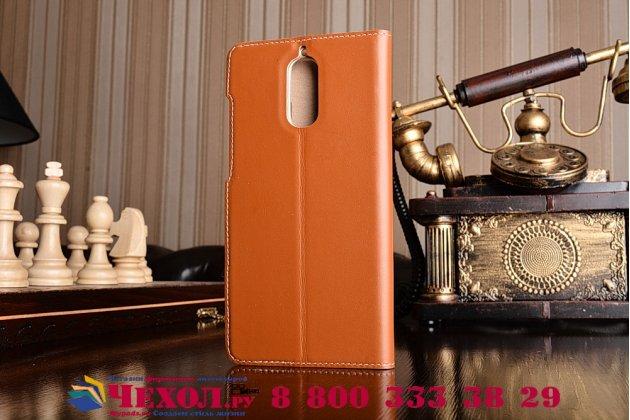 """Фирменный оригинальный чехол-книжка из качественной импортной кожи с окном для входящих вызовов  для  Huawei Mate 9 Pro 5.5"""" (LON-L29) Королевский коричневый"""