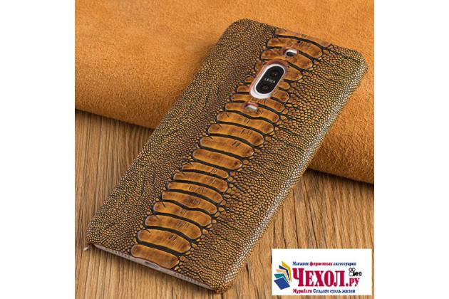 """Фирменная элегантная экзотическая задняя панель-крышка с фактурной отделкой натуральной кожи крокодила кофейного цвета для Huawei Mate 9 Pro 5.5"""" (LON-L29). Только в нашем магазине. Количество ограничено."""