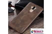 """Фирменная премиальная элитная крышка-накладка из тончайшего прочного пластика и качественной импортной кожи  для Huawei Mate 9 """"Ретро под старину"""" коричневая"""