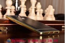 Фирменная премиальная элитная крышка-накладка из качественного силикона с дизайном под кожу для Huawei Mate 9  черная