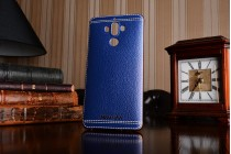 Фирменная премиальная элитная крышка-накладка из качественного силикона с дизайном под кожу для Huawei Mate 9 синяя