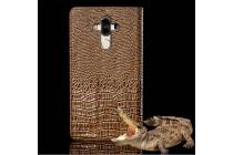 Фирменный роскошный эксклюзивный чехол с объёмным 3D изображением рельефа кожи крокодила коричневый для Huawei Mate 9 . Только в нашем магазине. Количество ограничено