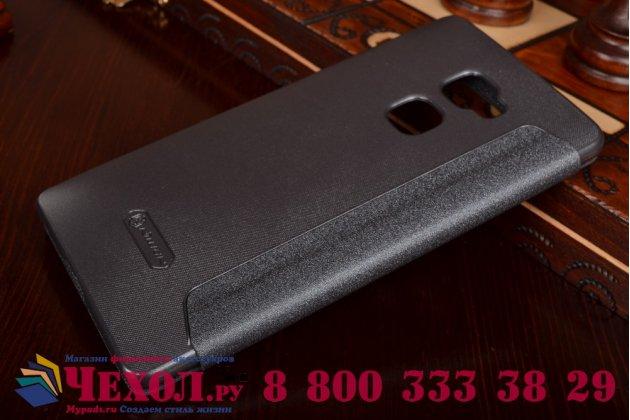 """Фирменный чехол-книжка для Huawei Mate S 5.5"""" черный с окошком для входящих вызовов водоотталкивающий"""