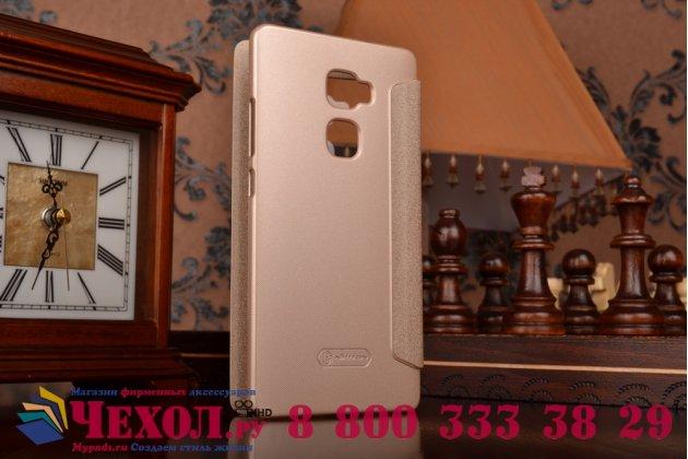 """Фирменный оригинальный чехол-книжка для Huawei Mate S 5.5"""" золотой с окошком для входящих вызовов водоотталкивающий"""