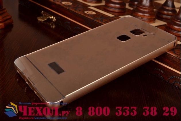"""Фирменная металлическая задняя панель-крышка-накладка из тончайшего облегченного авиационного алюминия для Huawei Mate S 5.5"""" золотая"""