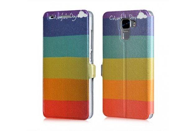 """Фирменный уникальный необычный чехол-книжка для Huawei Mate S 5.5"""" """"тематика все цвета радуги"""""""