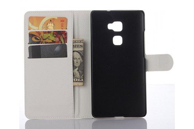 """Фирменный чехол-книжка из качественной импортной кожи с мульти-подставкой застёжкой и визитницей для Хюавей Мейт Эс 5.5"""" белый"""